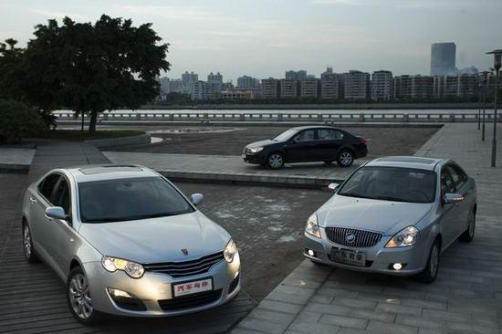 对比上汽荣威550 VS上海大众朗逸VS上海通用凯越-对比荣威550与朗图片