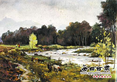 透視強烈風景油畫