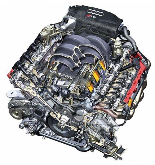 『奥迪r8的v8 fsi发动机构造图』