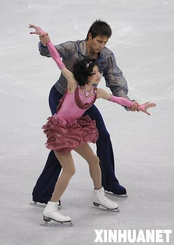 优子/3月25日,俄罗斯选手川口优子(前)和斯米尔诺夫在比赛中。