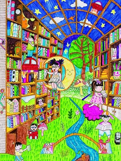 图书馆》,《我心目中的未来城市和生活》两幅作品出自甘肃少年儿童之图片