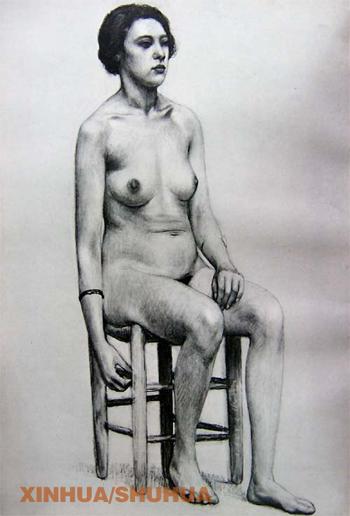 欧式雕塑铅笔画