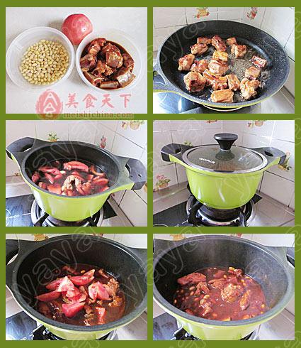 热菜菜谱 番茄黄豆焖排骨