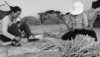 渭源县 会川镇/在位于渭源县会川镇金滩园区的一家加工厂里,当地群众正在整理...