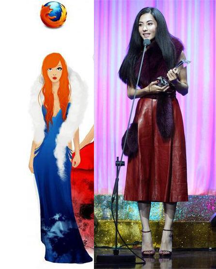 手绘模特vs明星 时尚有一拼
