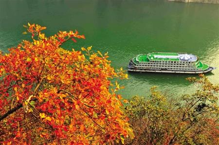 十一月二十二日下午,一艘游船在风景如画的长江三峡瞿塘峡水域游弋.
