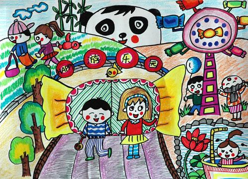 儿童画兰州风景