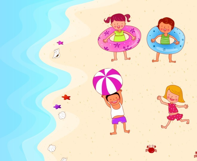 夏天幼儿游泳卡通图片