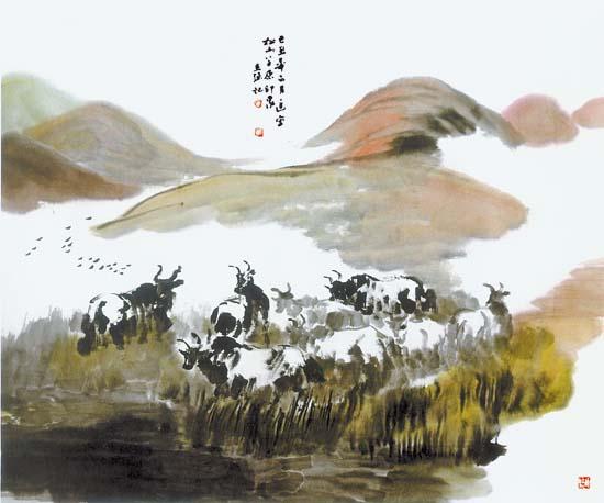 草原印象(国画)