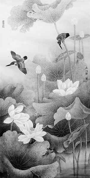 荷塘 中国画