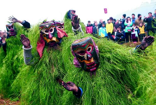 广西柳州市融水苗族自治县安陲乡在江门苗寨举行传统的 芒哥节