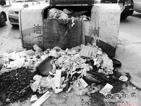 垃圾桶外倒满垃圾