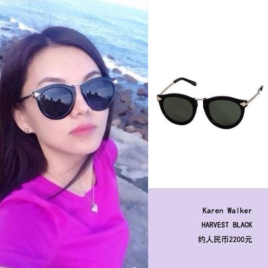 李湘可爱的圆脸也非常适合这款太阳镜.