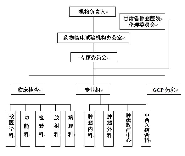 甘肃省肿瘤医院药物临床试验机构组织管理结构示意图