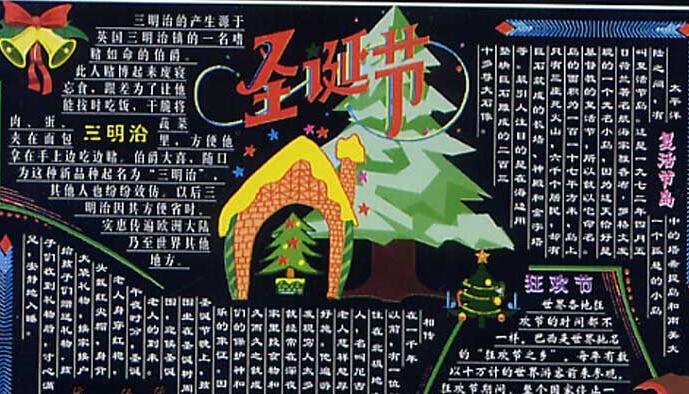 圣诞节黑板报设计二