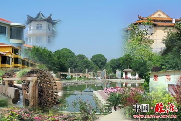 农村别墅院里有喷泉