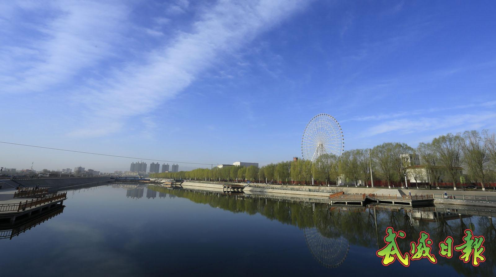武威天马湖吸引游客前往湖畔健身观光(图)