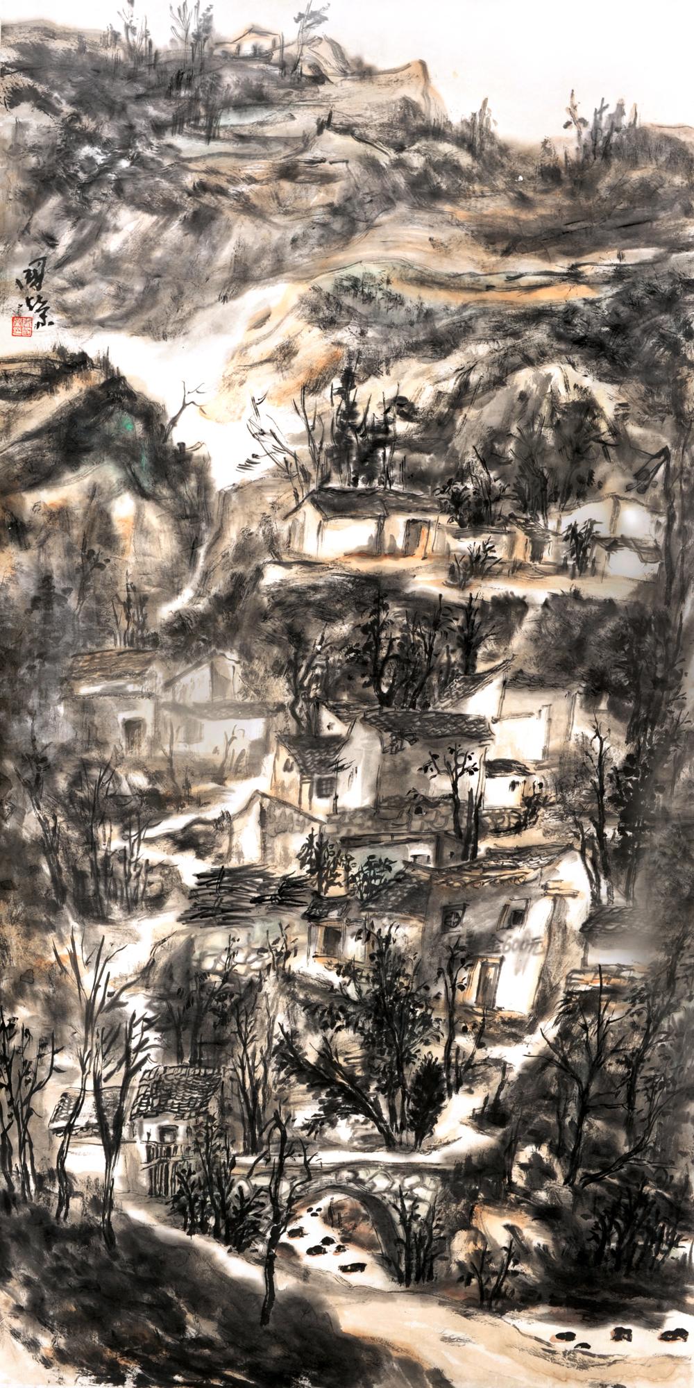 国画山水《孤村傍溪桥》68×137cm 2011年