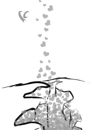 情感手绘黑白画