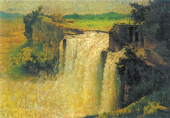 【文摘】高滩岩瀑布(油画)-文摘-每日甘肃-甘肃