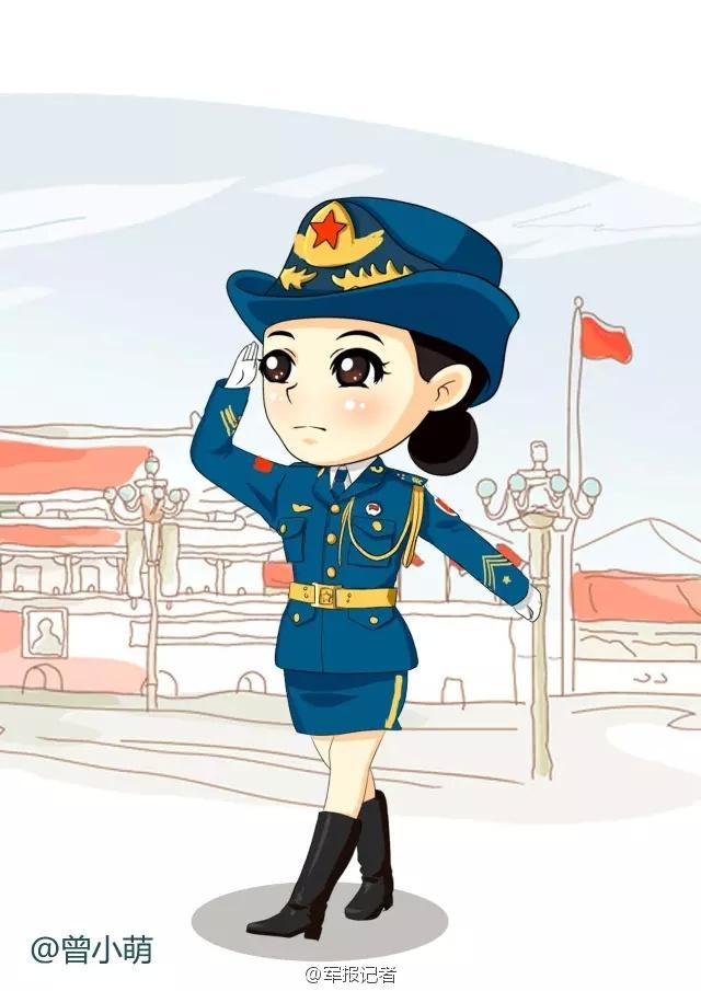 女兵卡通简笔画