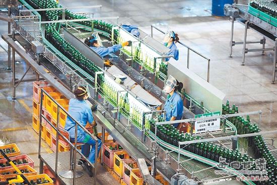 青岛啤酒(甘肃)农垦股份有限公司生产线正在紧张生产