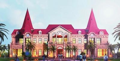 与恒大特有的欧式古典主义建筑交相辉映