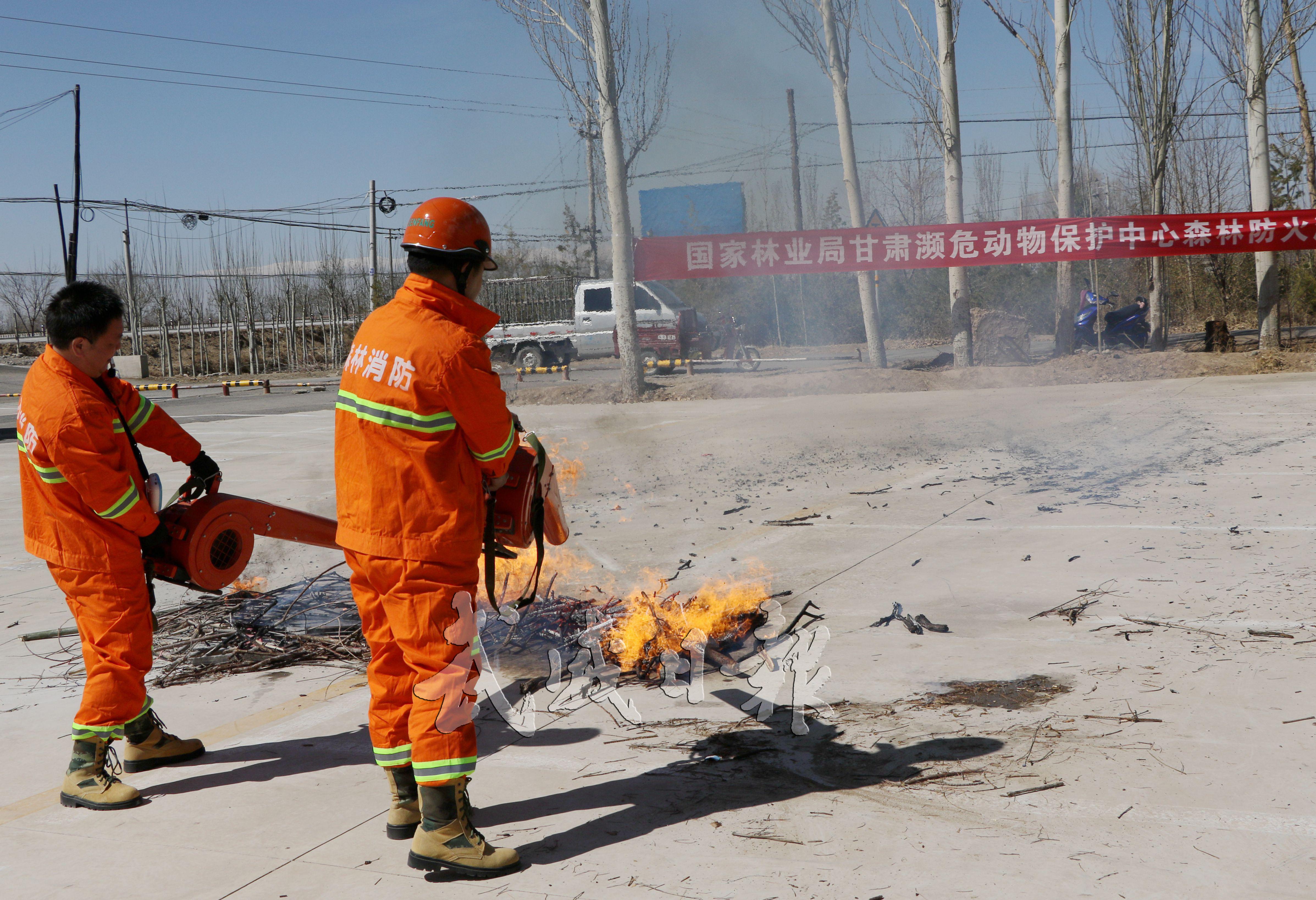 国家林业局甘肃濒危动物保护中心森林防火演练现场