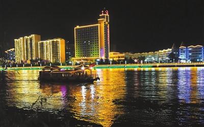永靖县刘家峡黄河岸边流光溢彩