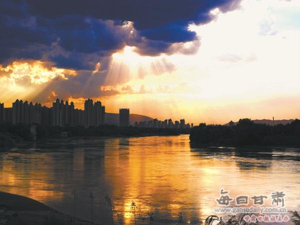 黄河兰州段夕照有着别样的美