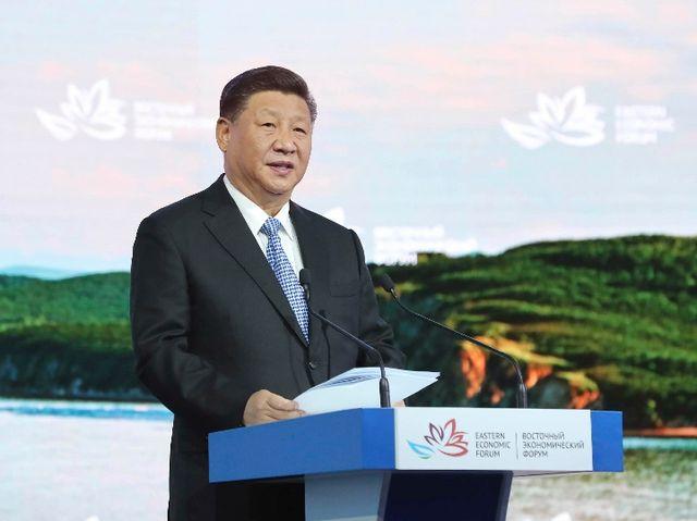 9月12日,第四届东方经济论坛全会在符拉迪沃斯托克举行。中国国家主席习近平出席并发表题为《共享远东发展新机遇 开创东北亚美好新未来》的致辞。新华社记者 鞠鹏 摄