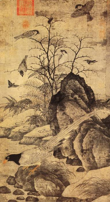 32、《山鹧棘雀图》/黄居寀