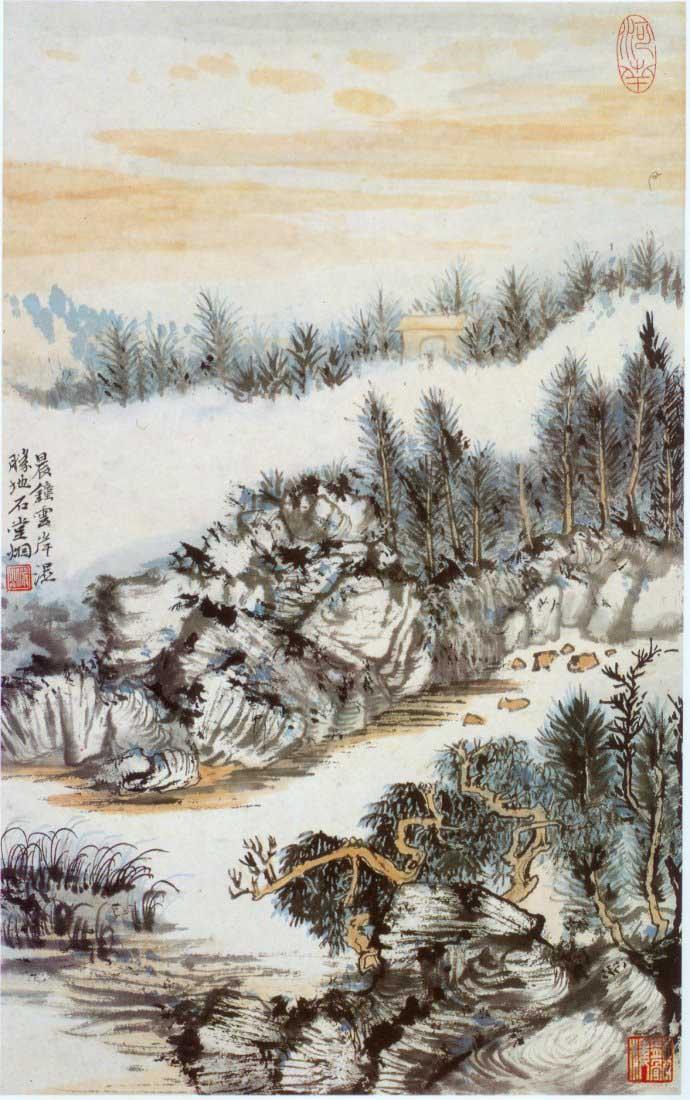 山水画家陆俨少《杜甫诗意画百开册页》欣赏【20】