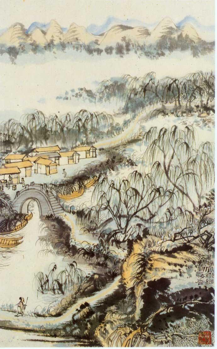 山水画家陆俨少《杜甫诗意画百开册页》欣赏【56】