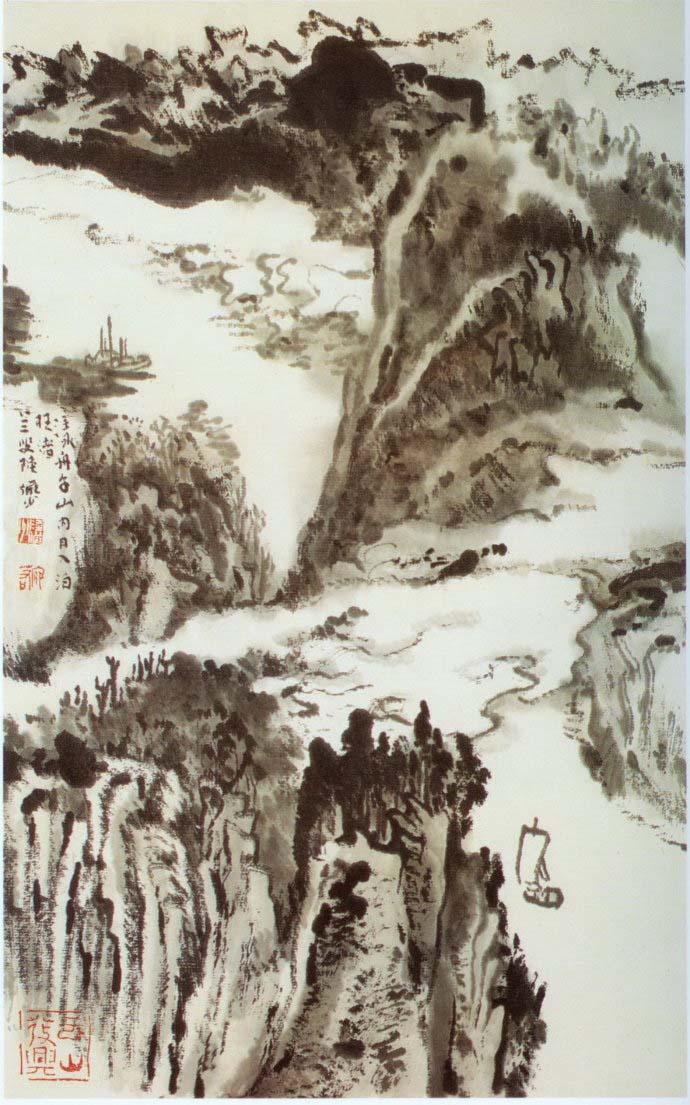 山水画家陆俨少《杜甫诗意画百开册页》欣赏【59】