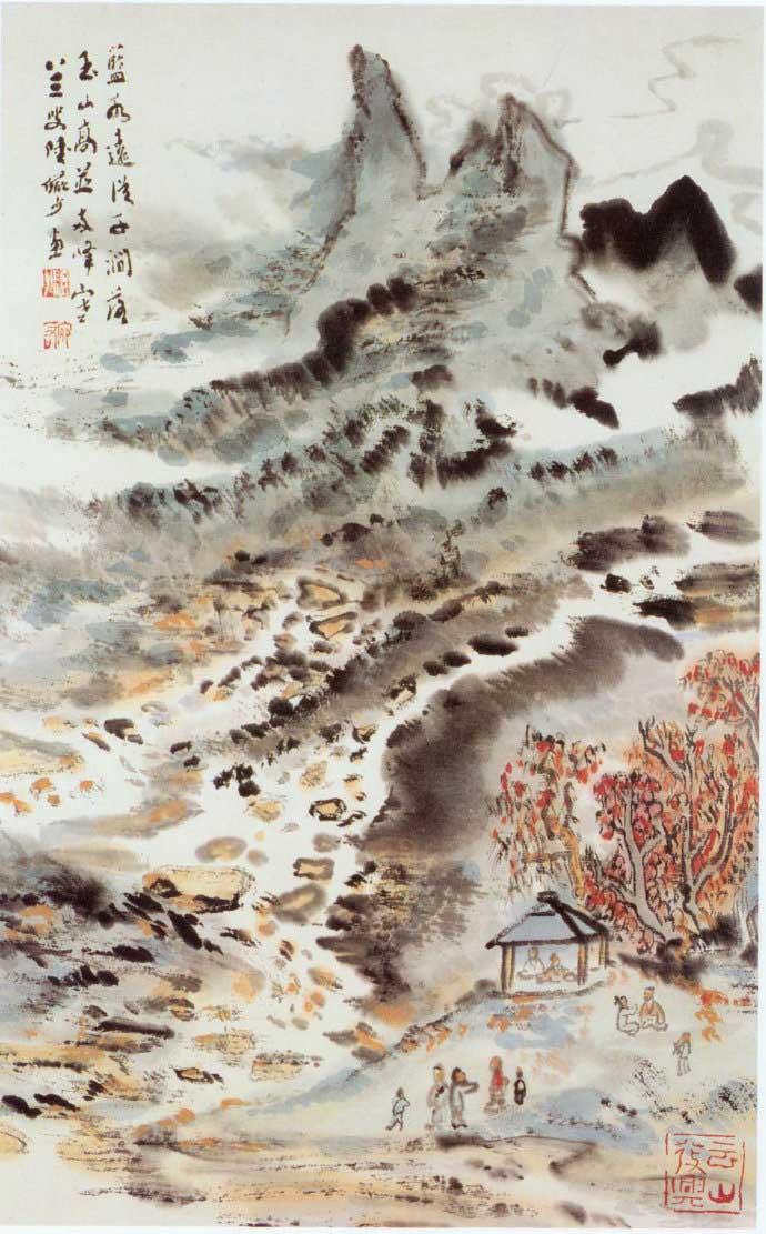山水画家陆俨少《杜甫诗意画百开册页》欣赏【66】