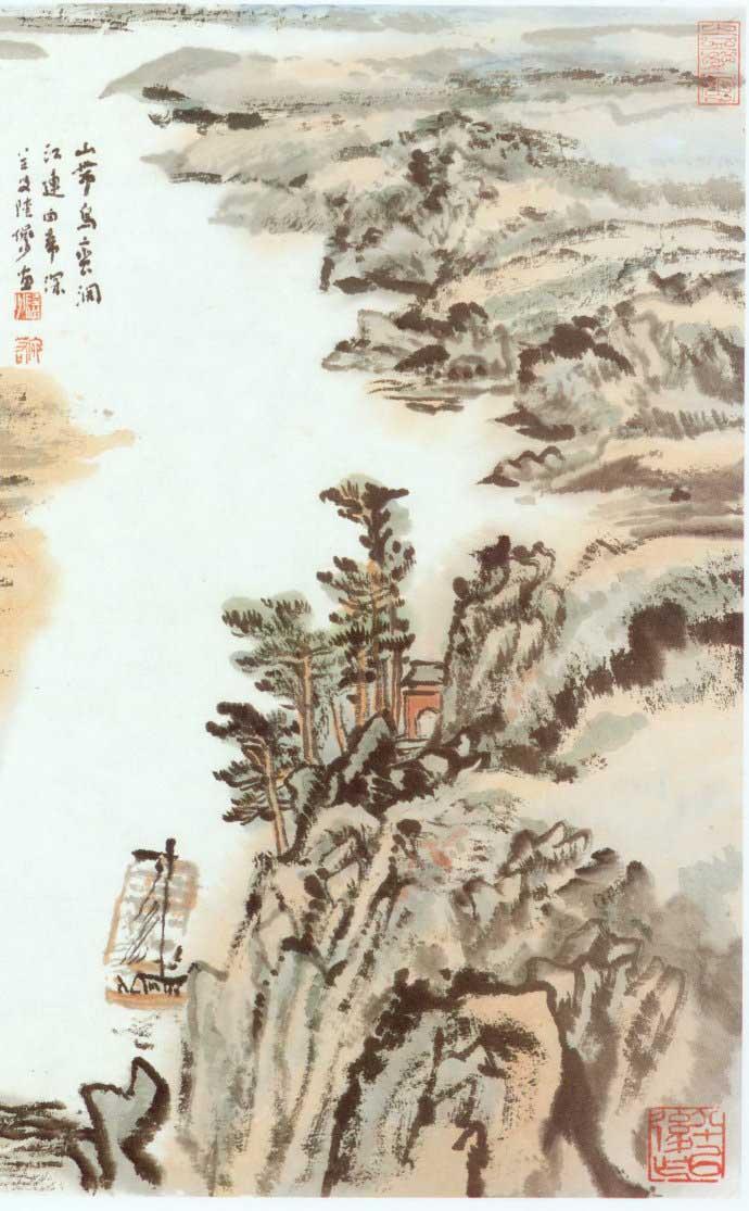山水画家陆俨少《杜甫诗意画百开册页》欣赏【78】