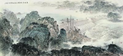 高峡平湖图(国画) 300×650厘米 2009年 施江城 张军 中国美术馆藏