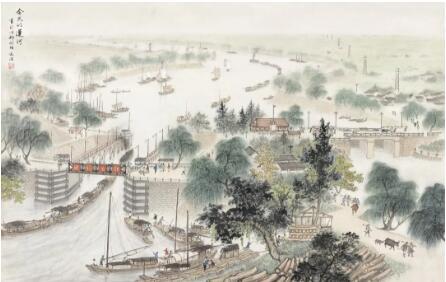 宋文治《今天的运河》73.5cm×115cm 20世纪50年代