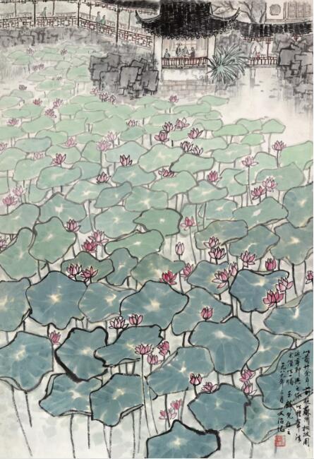 宋文治《拙政园图》67.5cm×45cm 1963年