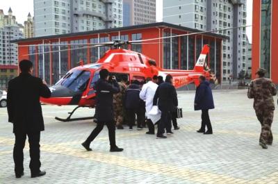 定西一名颅脑外伤患者情况严重 空中120紧急转运救人