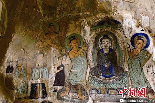 图为炳灵寺169窟11龛壁画《说法图》(西秦)。 甘肃省文物局供图