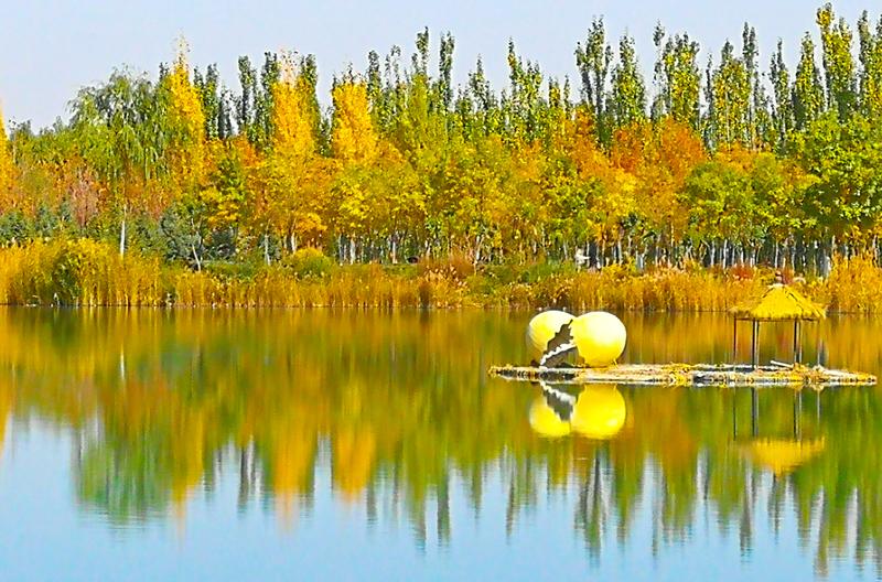 张掖市甘州区芦水湾生态景区秋色迷人