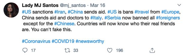 """""""各国现在知道谁是真正的朋友了"""" 多国对中国援助比心"""