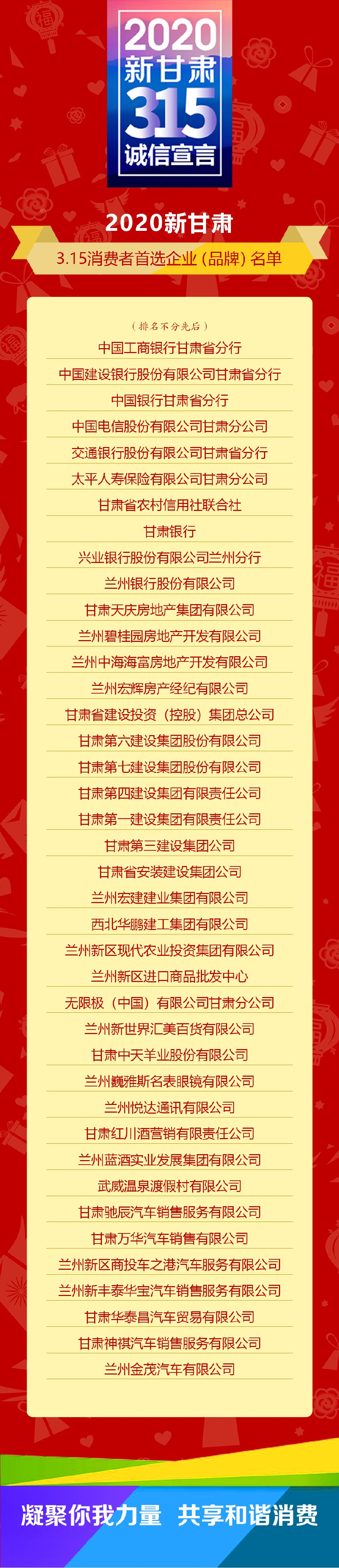 """刚刚!2020""""新甘肃""""消费者首选企业(品牌)名单出炉"""